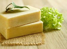Free Two Soap And Green Leaf On Wooden Royalty Free Stock Photography - 19597797