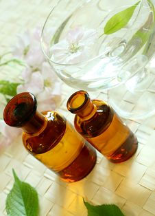Free Spa Composition Of Bottles And Flowers Stock Image - 19599231