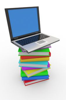 Free Laptop On Stack Of Books Royalty Free Stock Image - 19599606