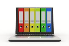 Free Laptop And Colorful Archive Folders. Royalty Free Stock Image - 19599686