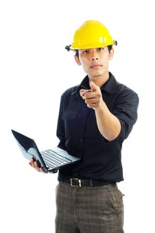 Free Workers Holding Notebook Point Fingers Stock Image - 19599941