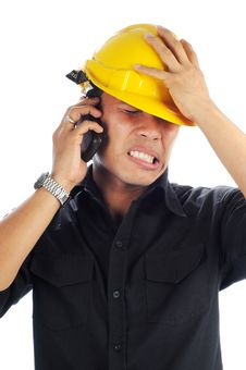 Free Workers Stress While Talk On Mobile Phone Royalty Free Stock Image - 19599986