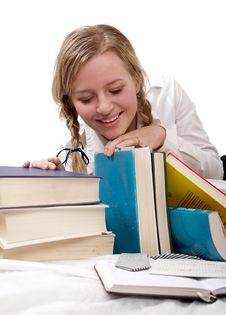 Free Schoolgirl Or Student Looking At Books Royalty Free Stock Image - 1960556