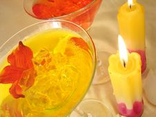 Free Yellow And Red Martini Glasses With Candles On Golden Background Stock Photo - 1961520
