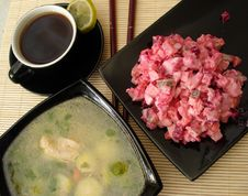 Free Green Soup, Red Salad And Cup Of Coffee Served Stock Photography - 1961722
