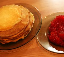 Pancakes With Caviar Royalty Free Stock Image