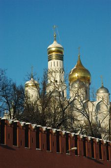 Moscow, The Domes Of Kremlin Stock Images