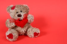 Free Valetines Teddy Bear On Red Background Royalty Free Stock Image - 1964996