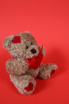 Free Valetines Teddy Bear On Red Royalty Free Stock Photos - 1965028