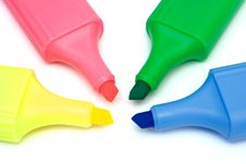 Free Four Multicolored Markers On White Paper Royalty Free Stock Photo - 1965745