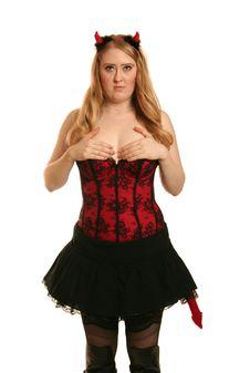Shy Devil Woman Stock Image