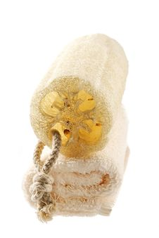 Natural Sponge And Terry Towel Stock Photography