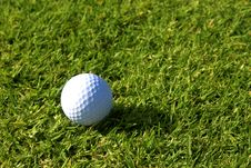Free Single Golfball On Green Grass. Stock Photos - 1969113