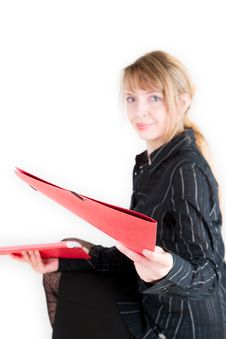 Free A Red Folder And A Blond Woman Stock Photography - 1969332