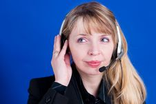A Customer Representative With Headset Making A Telephone Call Stock Images