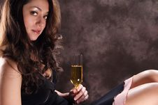Free Hispanic Girl With Champagne Royalty Free Stock Images - 1969709