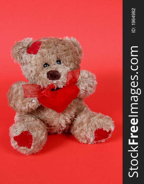 Teddy Bear on Red Background
