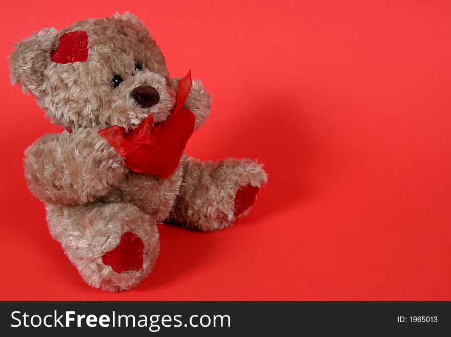 Small Teddy Bear on Red Background