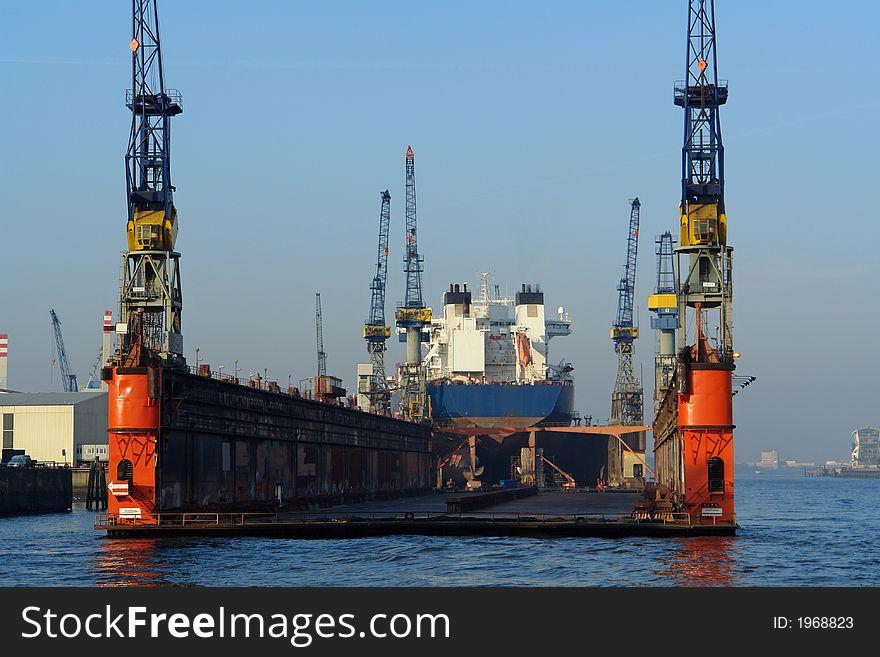 Floating dock in Hamburg harbor
