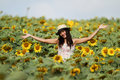 Free Fun Woman In The Field Of Sunflowers Royalty Free Stock Image - 19607296