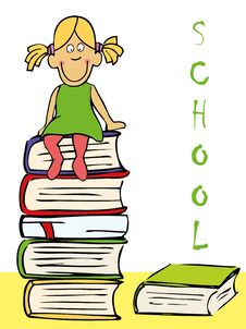 Funny Girl Sitting On The Books Royalty Free Stock Photo