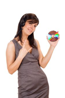 Free Young Lady Holding CD And Listening To Music Stock Photos - 19601303