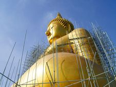 Free Golden Buddha Statue Under Construction Stock Image - 19601621