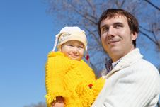 Free Little Girl With Father In Spring Park Stock Photo - 19601740