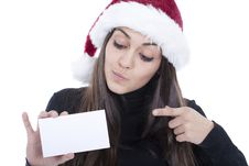 Woman Pointing To An Empty Card Stock Images