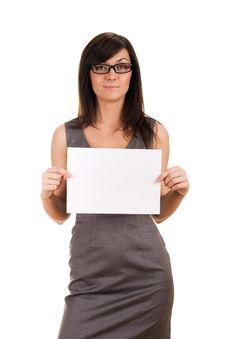 Free Business Woman Holding Blank Board Royalty Free Stock Photos - 19602328