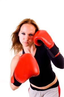 Attractive Caucasian Girl Practicing Boxing Royalty Free Stock Image