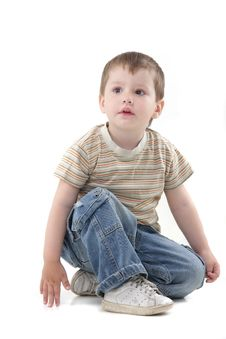 Free Young Boy Over White Stock Images - 19602964