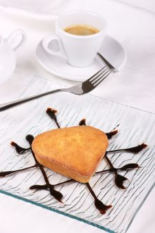 Free Small Heart-shaped Cake With A Cup Of Coffee Stock Photography - 19603652