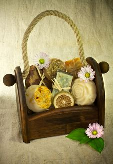 Free Soap In The Basket. Stock Photography - 19604242