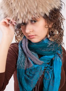 Free Pretty Girl In A Fur Hat Royalty Free Stock Photos - 19605758