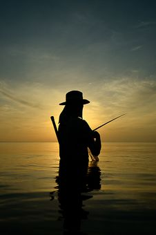 Free Silhouette Fishing Stock Image - 19605791