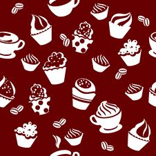 Free Seamless Pattern With Cups Of Coffee Royalty Free Stock Photos - 19606498