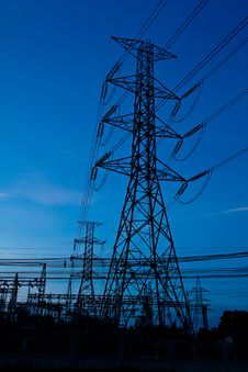 Free High Voltage Electricity Pillars And Blue Sky Stock Photos - 19606733