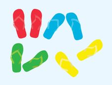 The Sample Of Color Summer Beach Slippers Stock Photography