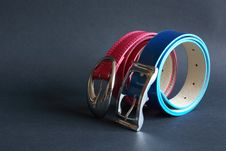 Free Two Belts On Dark Royalty Free Stock Image - 19607046
