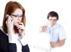 Free Sad Business Women Calling By Phone. Royalty Free Stock Photos - 19607248