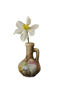 Narcissus In A Ceramic Jug Stock Images