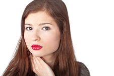 Free A Beautiful Young Woman With Red Lips Royalty Free Stock Photography - 19608537