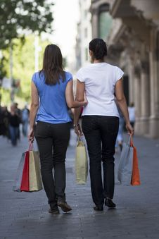 Women Checking The Shopping Stock Photography