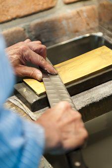 Knife Sharpening In Japan Stock Photo