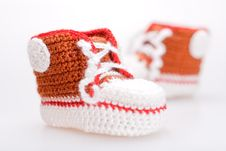 Free Crocheted Booties For A Boy Stock Images - 19609564