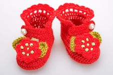 Free Crocheted Booties For A Girl Stock Photography - 19609642