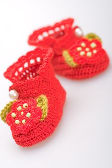 Free Crocheted Booties For A Girl Stock Photos - 19609653