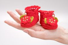 Free Crocheted Booties For A Girl Royalty Free Stock Image - 19609666