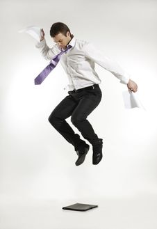Free Angry Jumping Businessman Royalty Free Stock Photos - 19609838